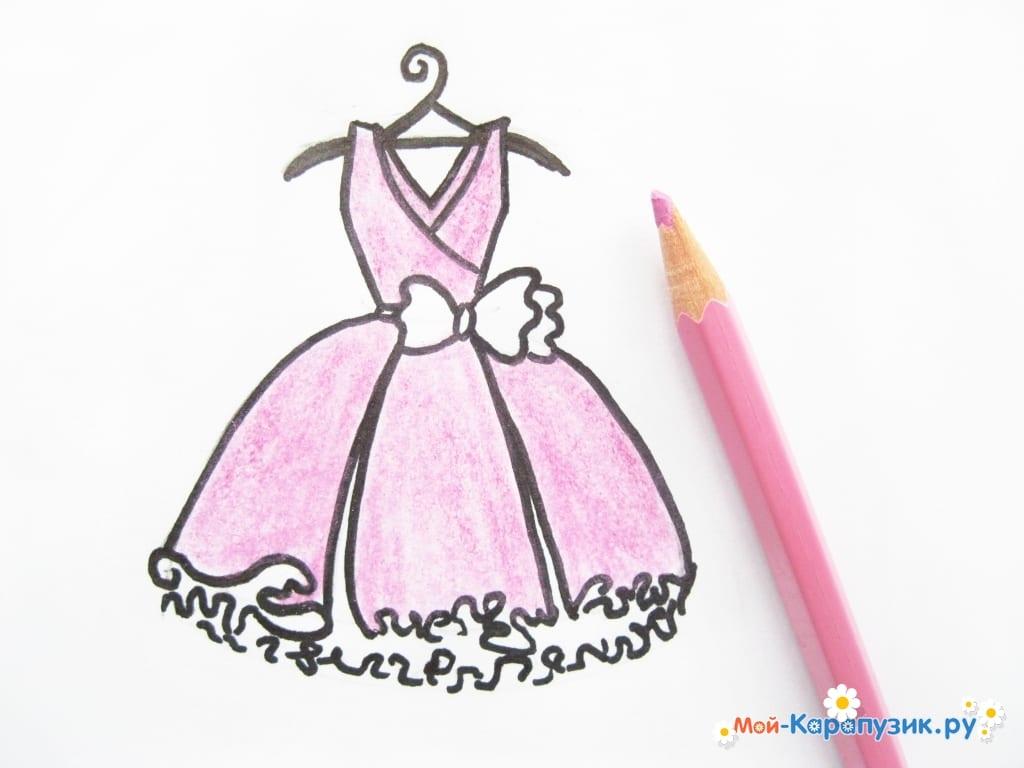 ce61198981d 9. Берем любимый цвет карандаша и разрисовываем им верхнюю часть платья и  юбку. В нашем случае выбран розовый цвет.