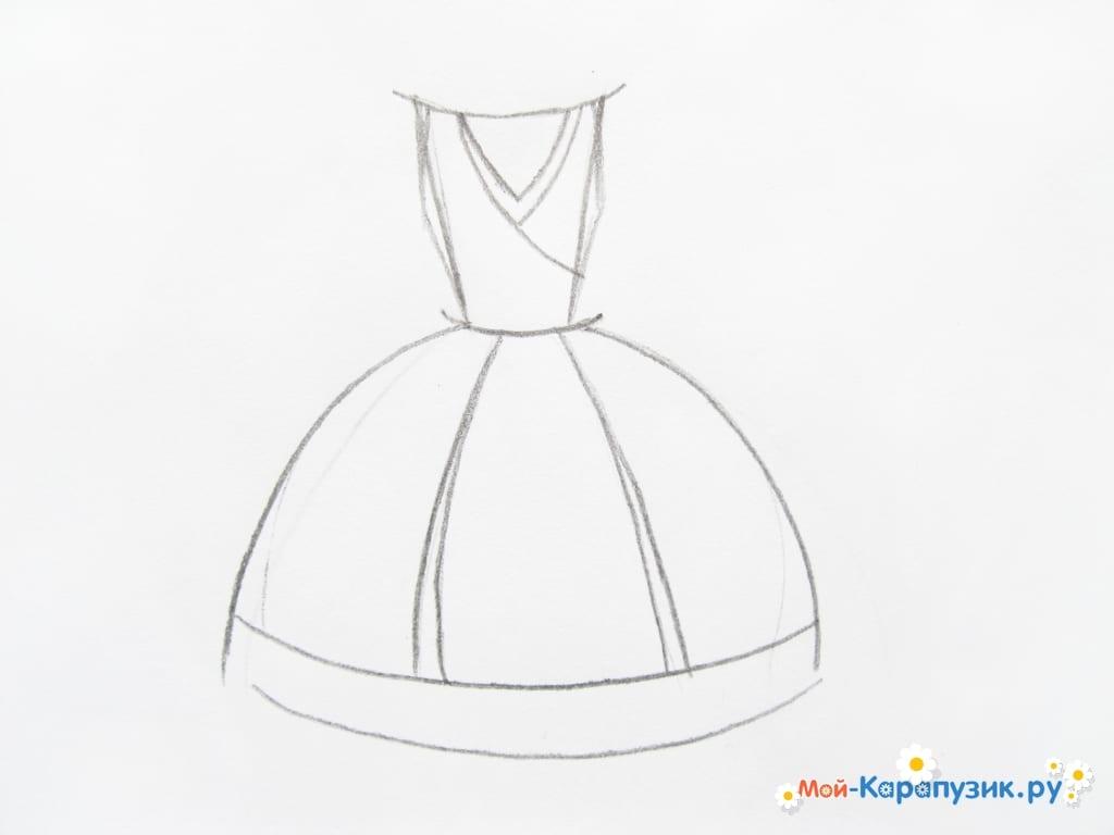 ca89f71a2be Низ платья разделим вертикальными линиями на три равные части