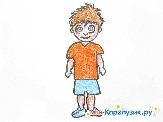Поэтапное рисование мальчика цветными карандашами - фото 13