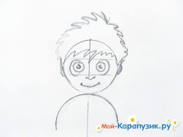 Поэтапное рисование мальчика цветными карандашами - фото 4
