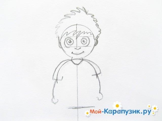 Поэтапное рисование мальчика цветными карандашами - фото 5