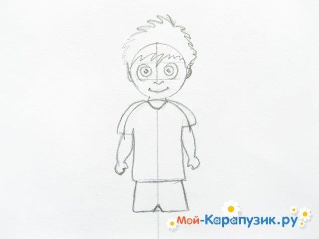 Поэтапное рисование мальчика цветными карандашами - фото 7