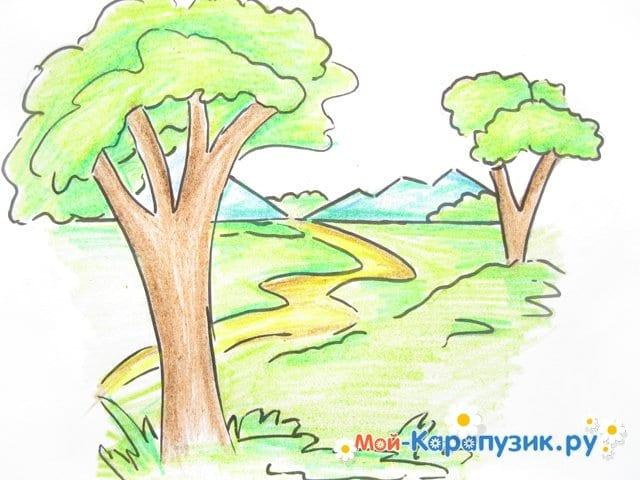 Поэтапное рисование природы цветными карандашами - фото 11