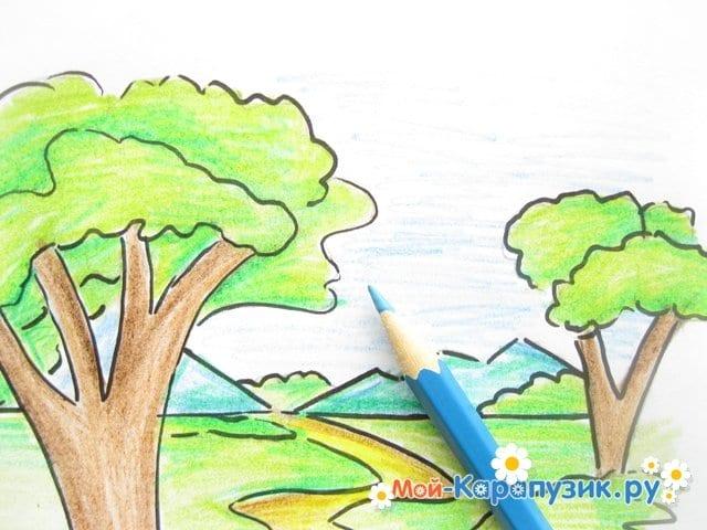 Поэтапное рисование природы цветными карандашами - фото 12