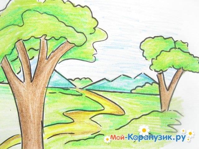 Поэтапное рисование природы цветными карандашами - фото 14