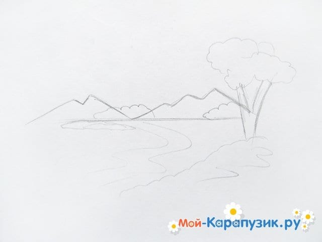 Поэтапное рисование природы цветными карандашами - фото 3