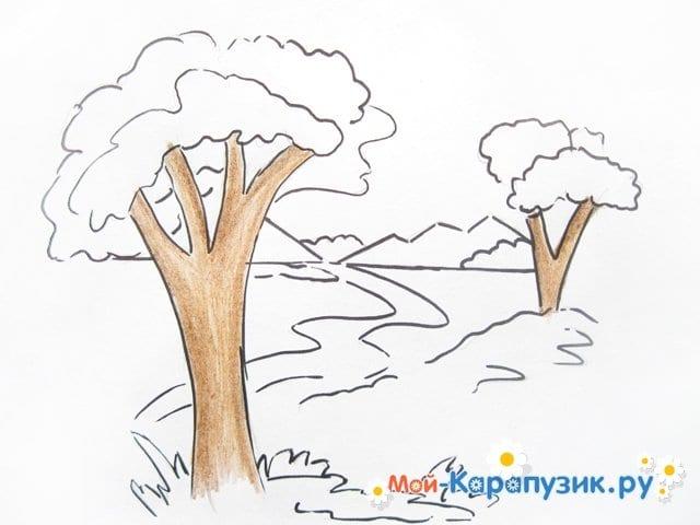 Поэтапное рисование природы цветными карандашами - фото 6