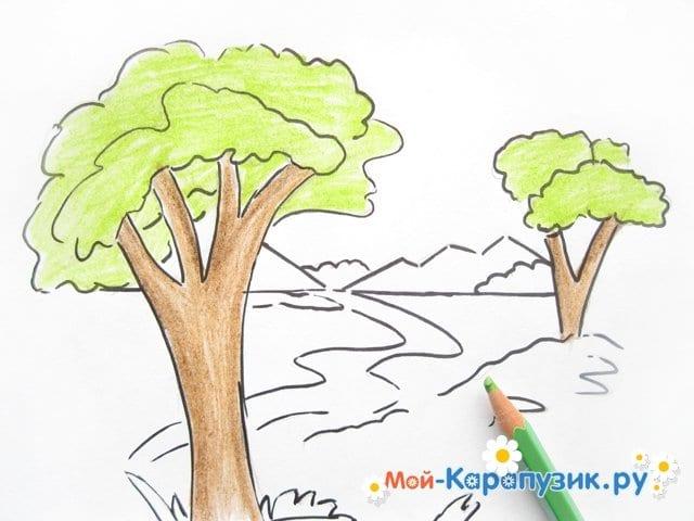 Поэтапное рисование природы цветными карандашами - фото 7