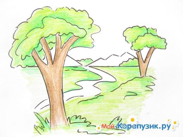 Поэтапное рисование природы цветными карандашами - фото 9