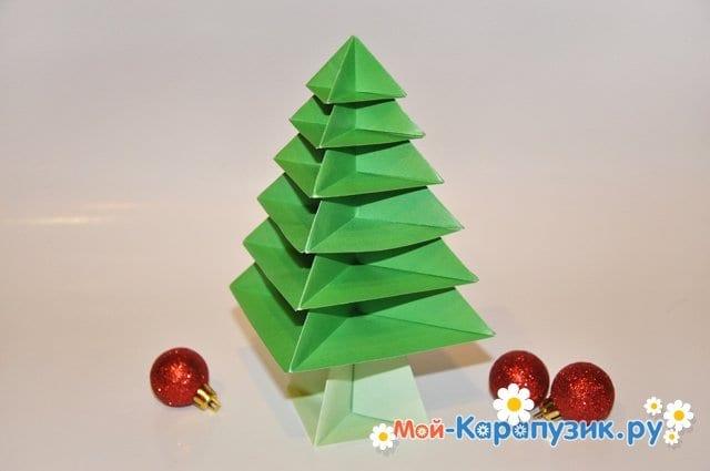 krasivaja-novogodnjaja-elka-origami-iz-bumagi-foto-20 Новогодние елки из цветной бумаги своими руками: 10 идей поделок к Новому году