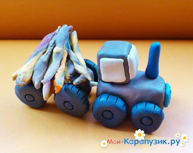 Лепка трактора из пластилина - фото 11