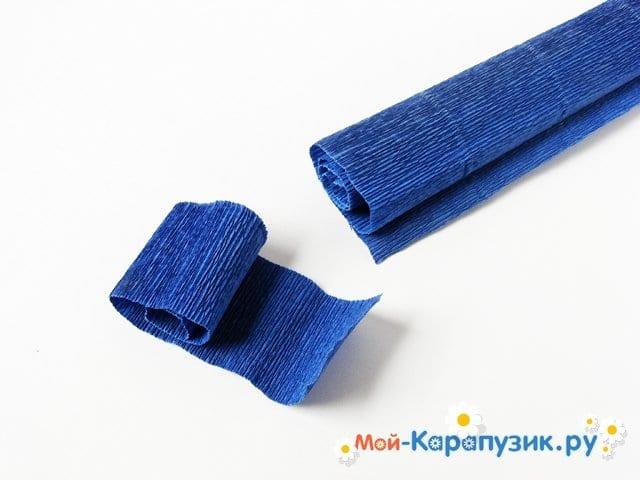 Изготовление васильков из гофрированной бумаги - фото 2