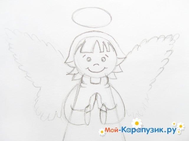 Поэтапное рисование ангела цветными карандашами - фото 10