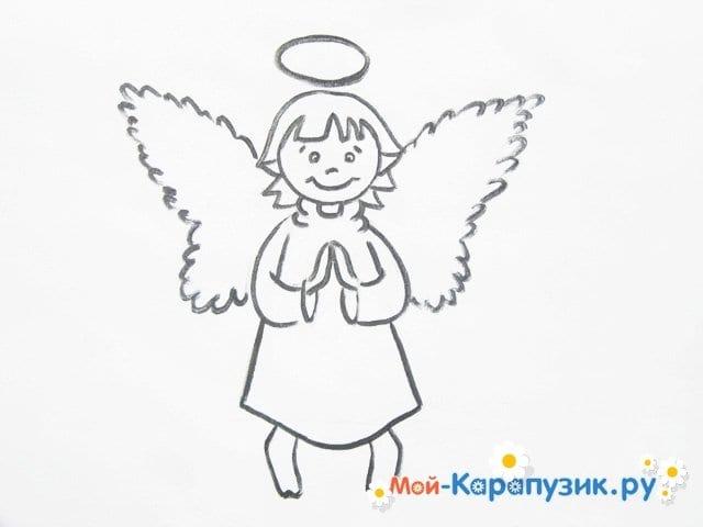 Поэтапное рисование ангела цветными карандашами - фото 11