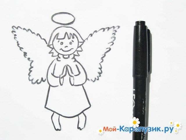 Поэтапное рисование ангела цветными карандашами - фото 12
