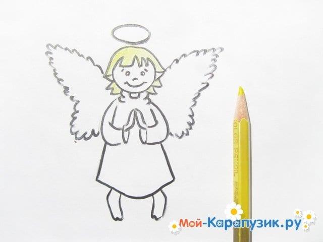 Поэтапное рисование ангела цветными карандашами - фото 13