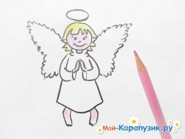 Поэтапное рисование ангела цветными карандашами - фото 14