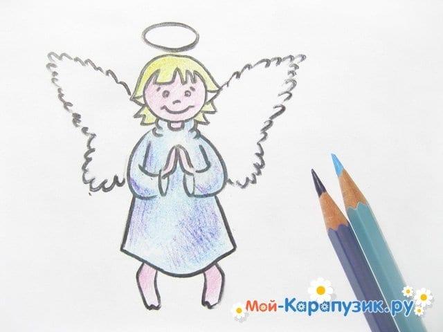 Поэтапное рисование ангела цветными карандашами - фото 15