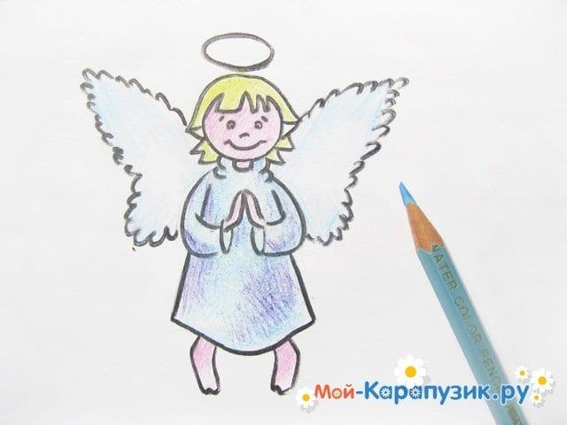 Поэтапное рисование ангела цветными карандашами - фото 16