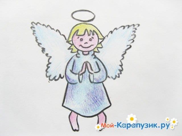 Поэтапное рисование ангела цветными карандашами - фото 17