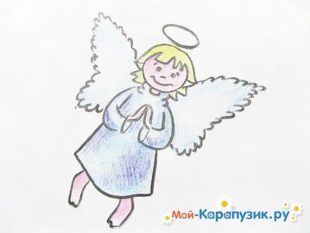 Поэтапное рисование ангела цветными карандашами - фото 18