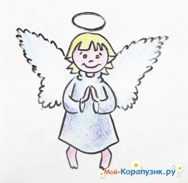 Поэтапное рисование ангела цветными карандашами - фото 19
