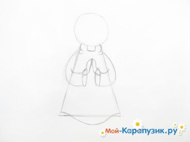 Поэтапное рисование ангела цветными карандашами - фото 6