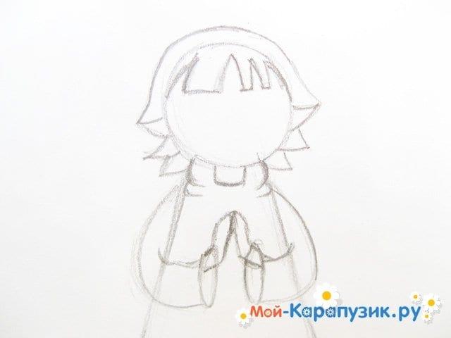 Поэтапное рисование ангела цветными карандашами - фото 8