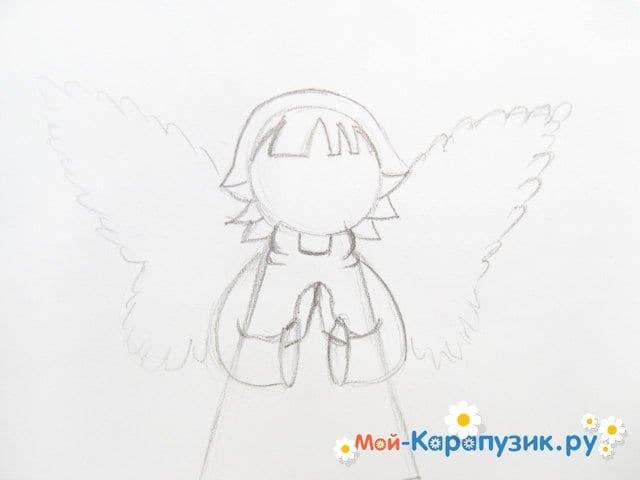 Поэтапное рисование ангела цветными карандашами - фото 9