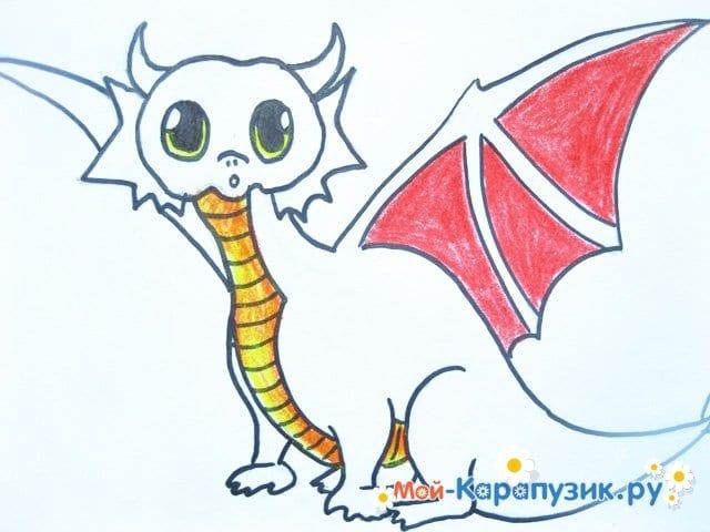 Поэтапное рисование дракона цветными карандашами - фото 11