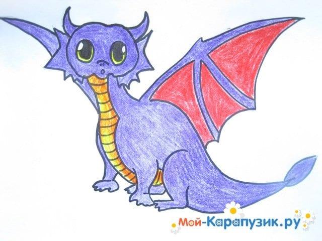 Поэтапное рисование дракона цветными карандашами - фото 13