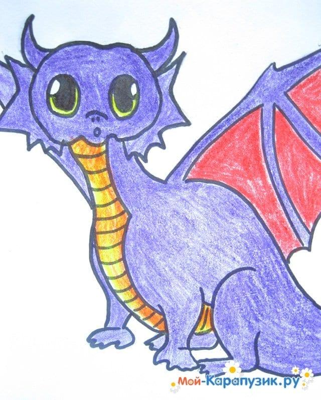 Поэтапное рисование дракона цветными карандашами - фото 14