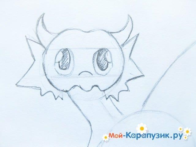 Поэтапное рисование дракона цветными карандашами - фото 5