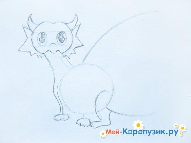 Поэтапное рисование дракона цветными карандашами - фото 6