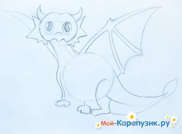 Поэтапное рисование дракона цветными карандашами - фото 7