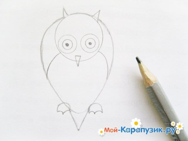 Поэтапное рисование совы карандашом - фото 11