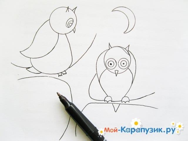 Поэтапное рисование совы карандашом - фото 13