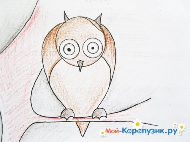 Поэтапное рисование совы карандашом - фото 16