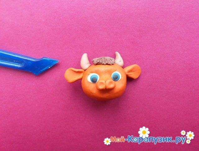 Лепка бычка из пластилина - фото 6