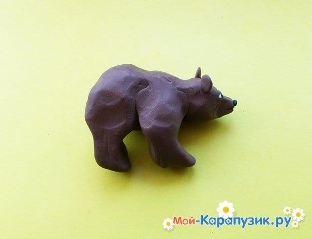 Лепка медведя из пластилина - фото 6