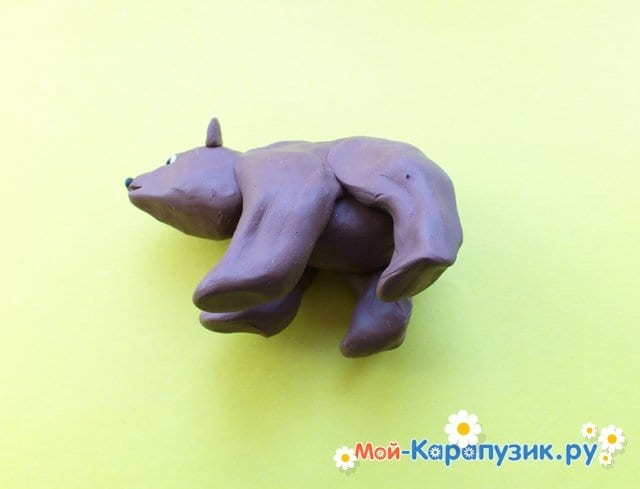Лепка медведя из пластилина - фото 7