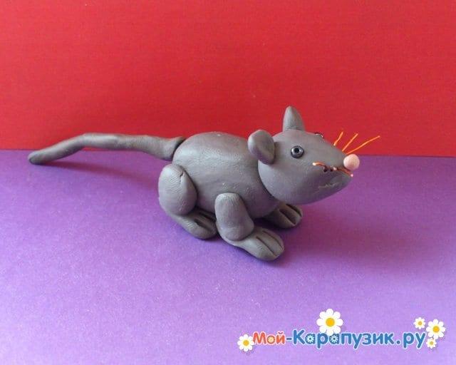 Лепка мыши из пластилина - фото 10