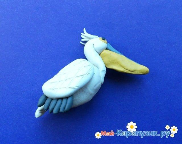 Лепка пеликана из пластилина - фото 12