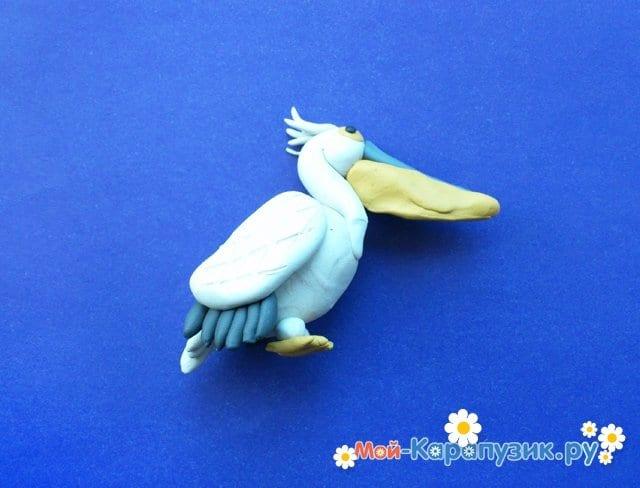 Лепка пеликана из пластилина - фото 13