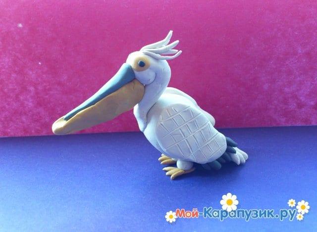 Лепка пеликана из пластилина - фото 17