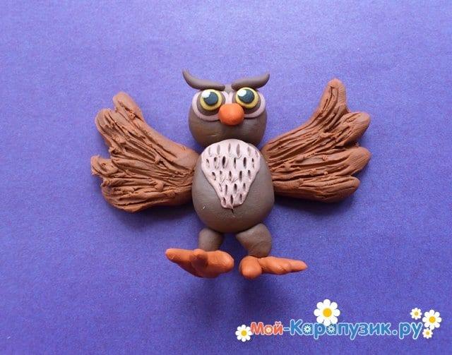 Лепка совы из пластилина - фото 12