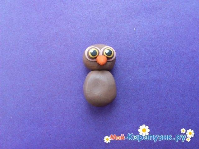 Лепка совы из пластилина - фото 6