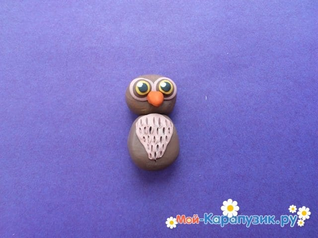 Лепка совы из пластилина - фото 7