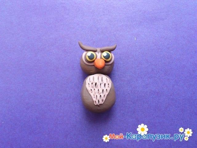 Лепка совы из пластилина - фото 8