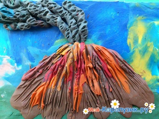 Лепка вулкана из пластилина - фото 10